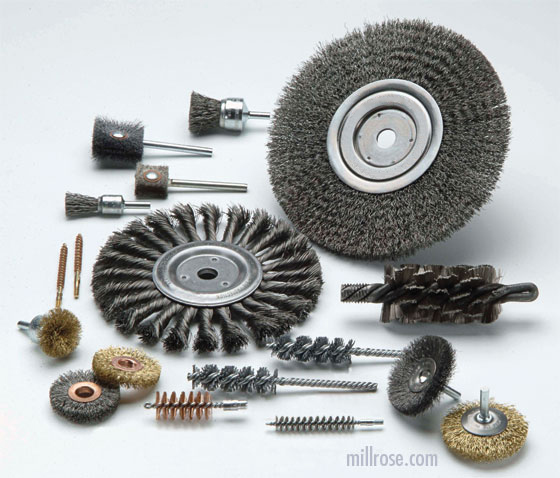 assortment of various abrasive brushes